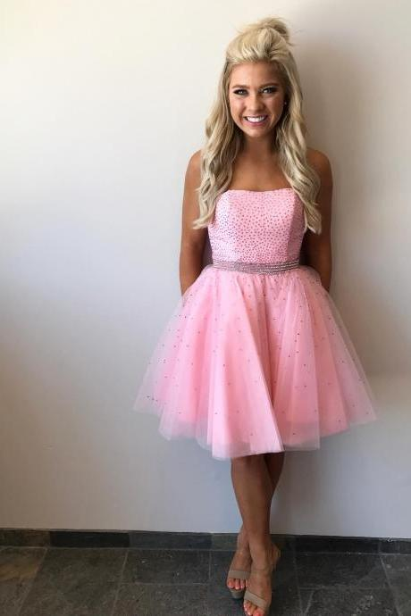 Charming Prom Dress, Pink Tulle Prom Dresses, Short Homecoming Dress