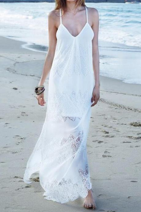 White Boho Lace and Chiffon Maxi Dress