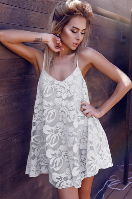 Summer dress sexy hollow V collar lace dress loose bandage straps dress