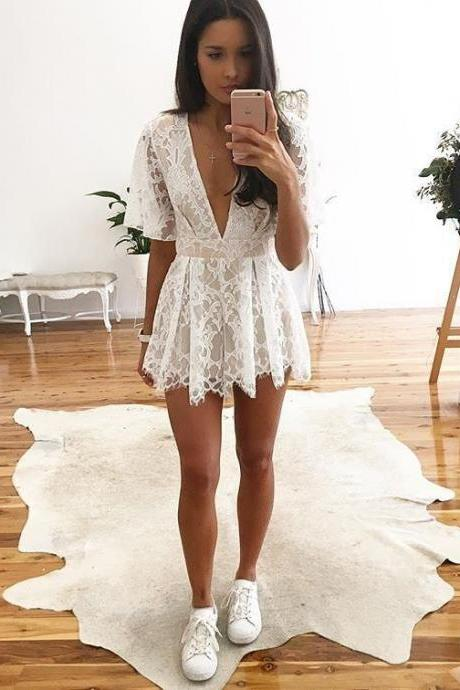 Sexy white lace jumpsuits