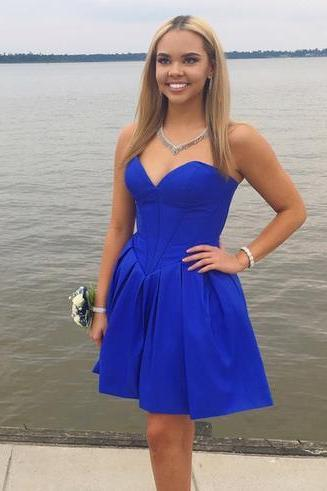 Cheap homecoming dresses 2017,Sweetheart Homecoming Dresses,Halter Homecoming Dresses,Royal Blue Simply Sweetheart Short Homecoming Dress