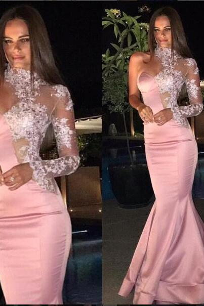 Sexy Evening Dress Mermaid Pink One Shoulder Lace Satin Long Prom Dress Satin Evening Gown abendkleider robe de soiree