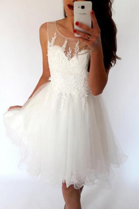 Stylish A-Line Bateau White Short Homecoming Dress with Appliques,Open Back Homecoming Dresses,