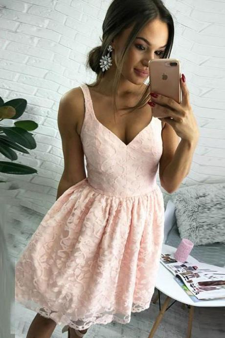 Cheap Lace Homecoming Dresses, Short Pink Homecoming Dresses, Chiffon Party Dresses