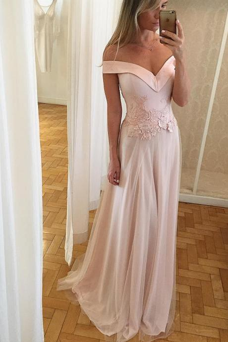Off Shoulder Long Prom Dresses with Waist Lace Appliques 2018
