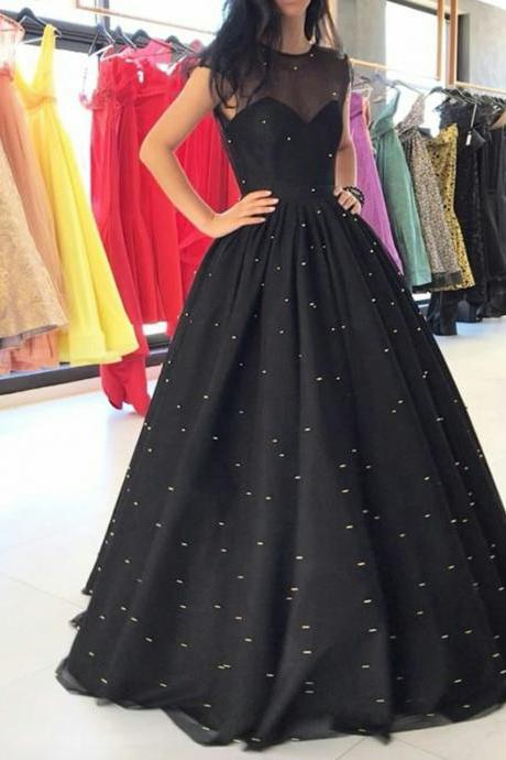 Illusion Neck Black Ball Gown Prom Dresses with Sparkly Sequins