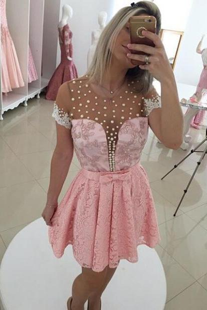 2017 Short Lace Homecoming Dress Custom Made,Princess Short Sleeves Short/Mini Lace Dresses