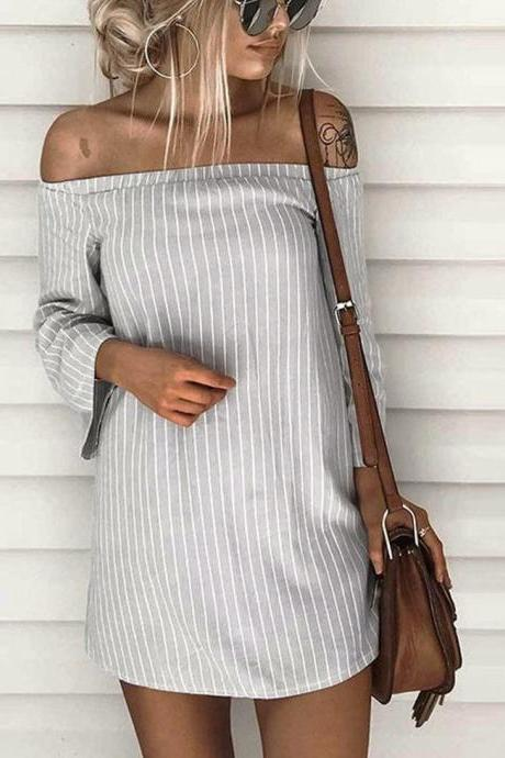 Sexy Off Shoulder Striped Dress