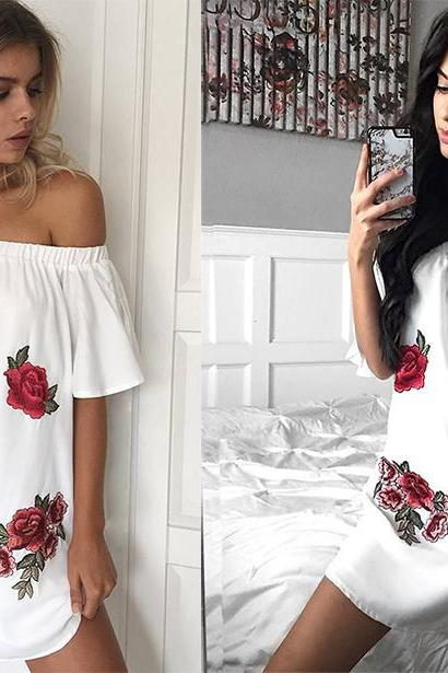 Off Shoulder Floral Embroidery Dress