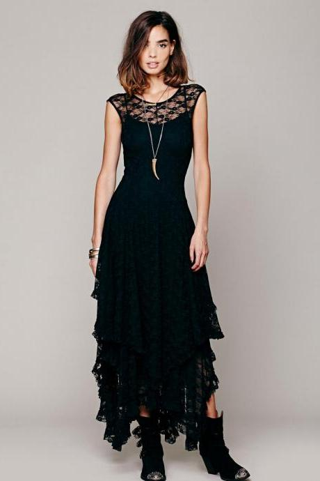 Irregular Asymmetrical Black Lace Dress Sexy Evening Dress