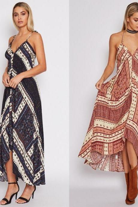 Tribal Print Plunge V Maxi Dress Featuring Tie Accent Open Back