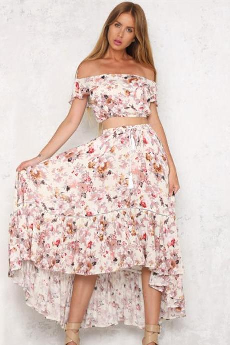 Floral Print Two-Piece Set Featuring Off-The-Shoulder Cropped Top and High Low Ruffled Skirt