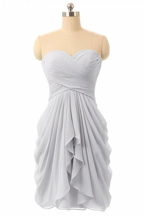 Grey Short Bridesmaid Dresses Cheap 2018 Sweetheart Wedding Guest Dress