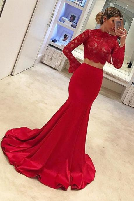 Long Sleeves Prom Dresses,Two Piece Prom Dress,Mermaid Evening Gowns,Prom Dresses 2018