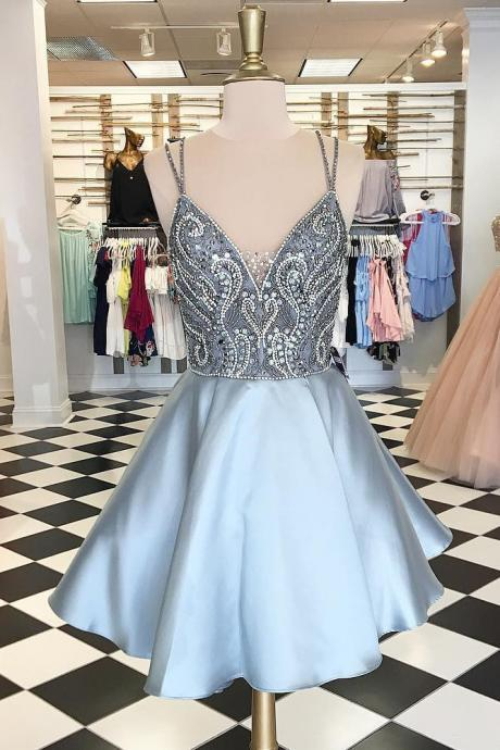 Spaghetti Straps Homecoming Dress,Short Homecoming Dress,A Line Prom Dresses,Silver Homecoming Dress