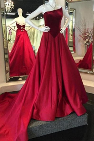 Red Prom Dresses 2017 Strapless A-line Sweep Train Satin