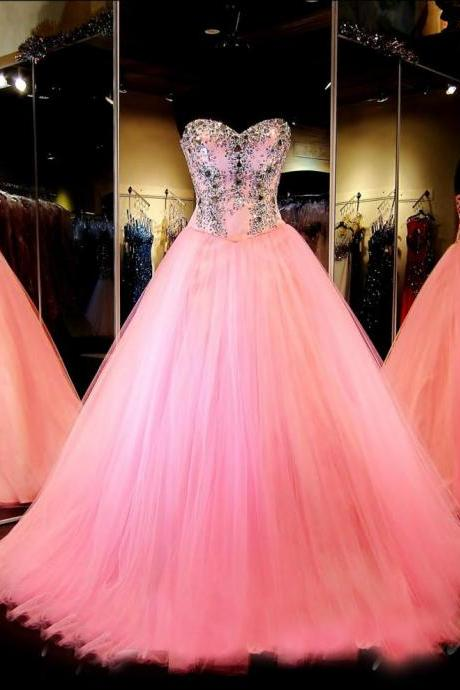 Ball Gown Tulle Pink Prom Dresses, Long Prom Dress, Custom Sweetheart Beaded Prom Dress