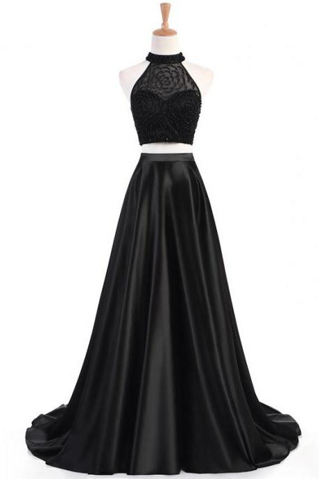 Long Prom Dresses, Satin Prom Dresses, Two Pieces Party Prom Dresses, Halter Evening Dresses
