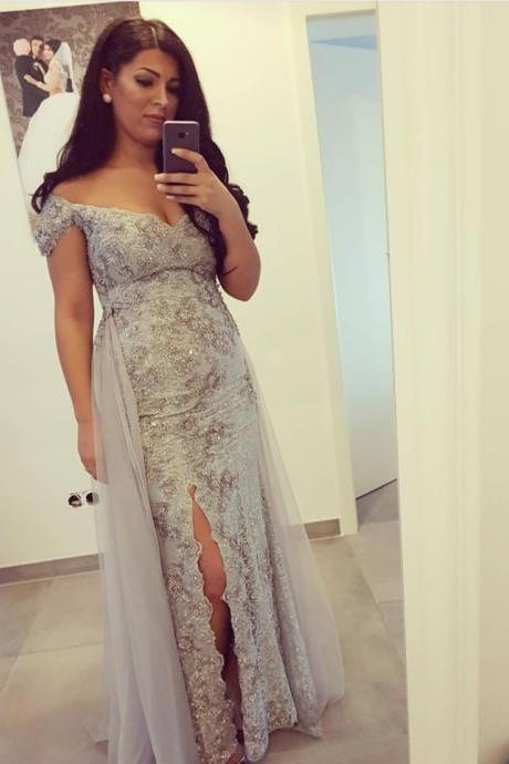 Silver Lace Prom Dresses,Off The Shoulder Evening Gowns,Sexy Long Formal Dresses