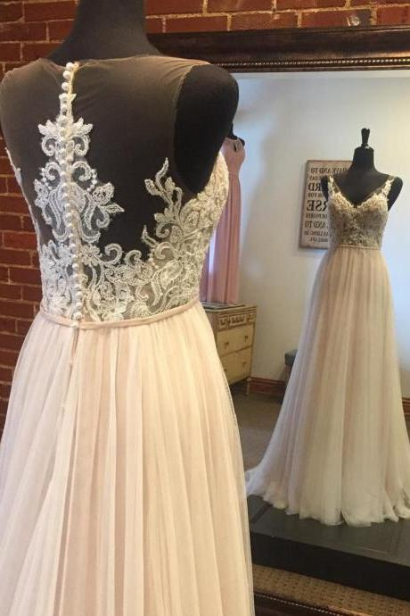 A-line Princess V-neck Appliqued Wedding Dresses Floor length Dresses