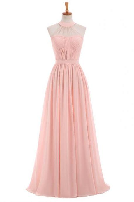 Long Bridesmaid Dress, Chiffon Bridesmaid Dress, Sleeveless Bridesmaid Dress, A-Line Dress for Wedding
