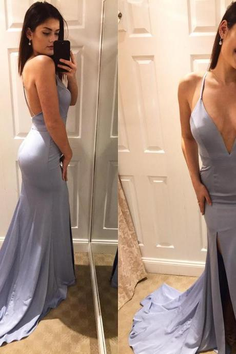Sexy Deep V Neck Slit Mermaid Evening Dresses Long Backless Maxi Gowns