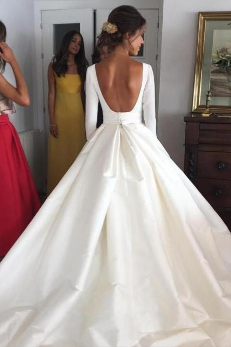 Nude Back Long Sleeves Satin Ball Gown Wedding Dresses with Pockets 2018