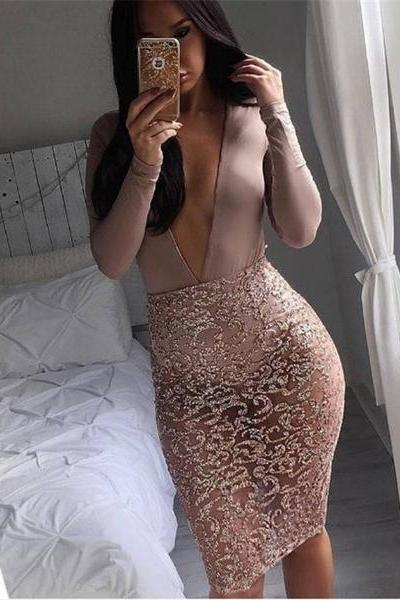 Women Sexy Sequin Hollow Embroidery Slim Fit Package Hip Bodycon Skirt