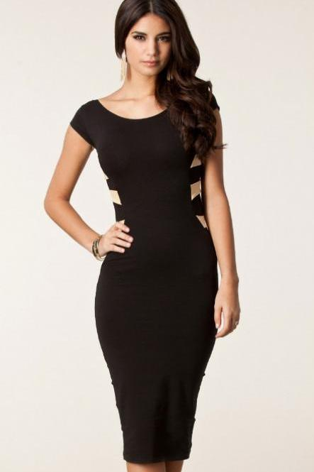 fashion Sexy Cross Back Design Black Mid Length Dress