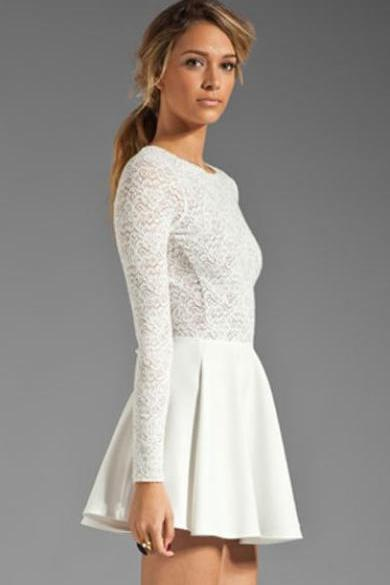 White Lace Halter Long Sleeved Dress