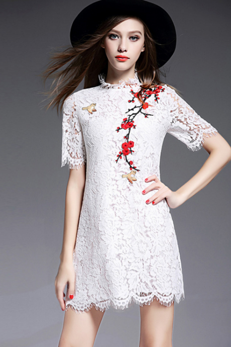Eyelash lace dress Fashion embroidery flower dress