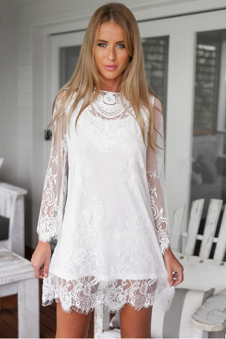 New winter pure color lace sexy dress