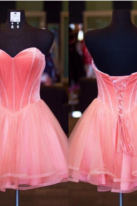 Pretty Pink Organza Homecoming Dresses Short Sweetheart Prom Gowns With Velvet Corset