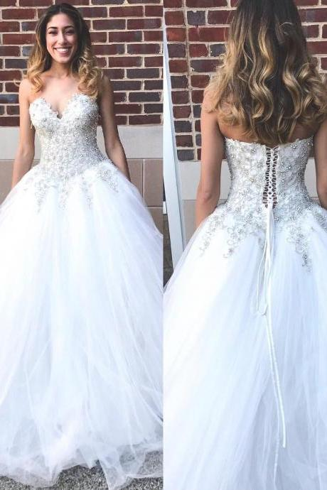 Strapless Mermaid Long White Wedding Dress Bridal Gown