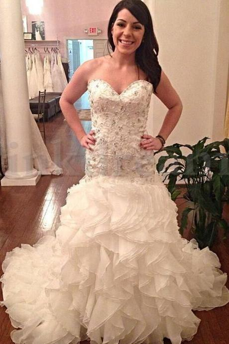 Sweetheart Mermaid Wedding Dresses Cascading Ruffles Crystail Beading Wedding Dresses