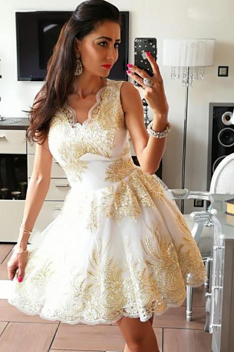 Elegant Homecoming Dresses,A-line Homecoming Dresses,Golden Applique Homecoming Dresses