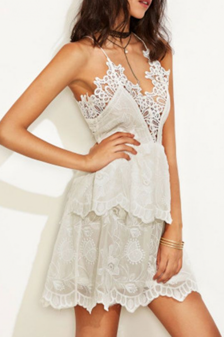 Lovely Spaghetti Straps Mini Dresses,Lace Homecoming Dresses