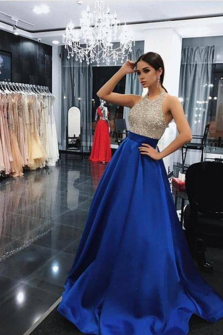 Bling Beading Bodice Green Satin Halter Evening Prom Dresses with Pockets 2018