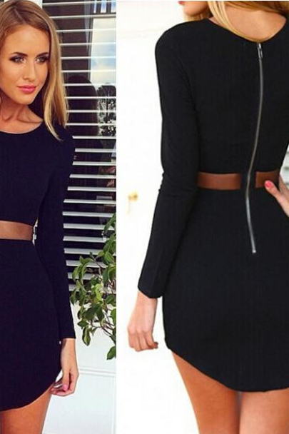 Mesh Waist Long Sleeve Dress