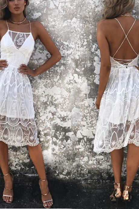 Elegant White Halter Lace Party Dress