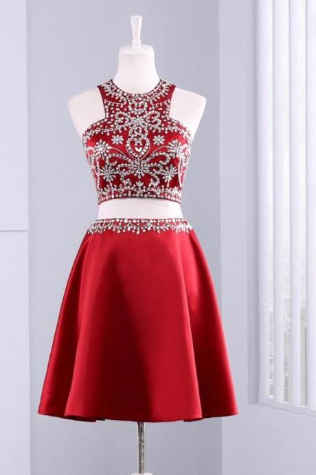 Cute Short 2 Piece Red Evening Dress , Graduation Dresses 2017,Party Dresses,Evening Dresses