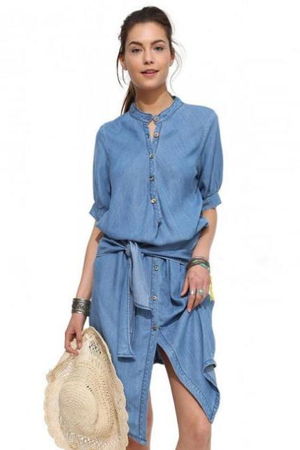 Stand Collar Casual Irregular Slim Fold Denim Dress