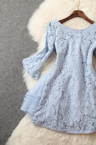 Blue Organza Lace Mini Dress
