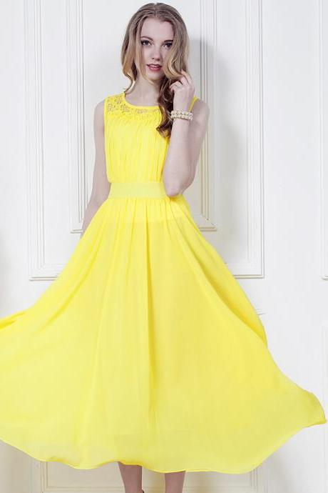 Yellow Sleeveless Long Chiffon Boho Bohemian Dress