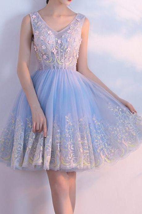 Short Homecoming Dress, Tulle Homecoming Dress, Lace Homecoming Dress, Applique Junior School Dress