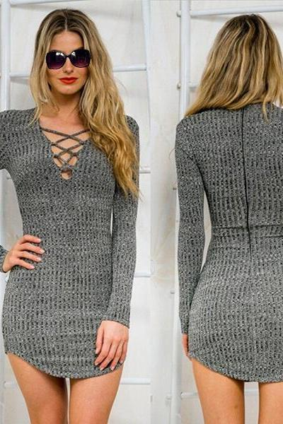 New Women Winter Lace Up Long Sleeve Slim Sweater Jumper Knit Bodycon Mini Dress