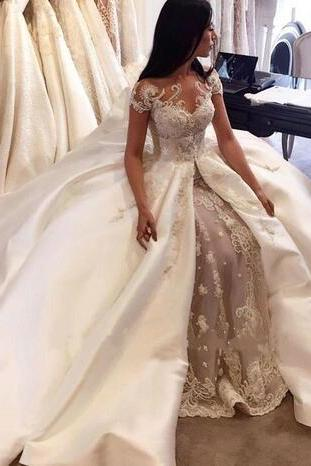2017 Luxury New Overskirts Wedding Dresses Bridal Gowns Lace Pearls Sheer Crew Neck Cap Sleeves