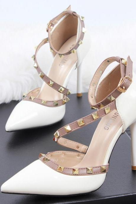 Pointed Toe Asymmetric Ankle Strap Stilettos, High Heels with Rivet Detailing