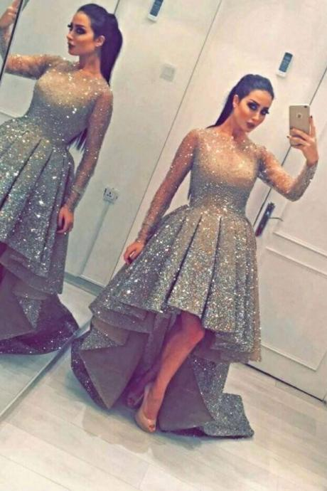 2017 Homecoming Dress Asymmetrical Sequin A-line For Garden/Outdoor On Sale Dresses