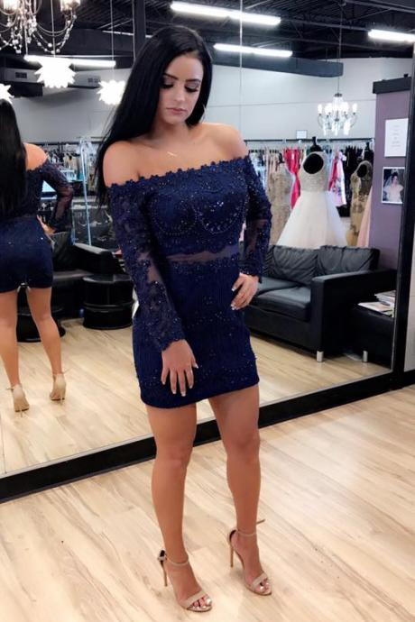 A-line Off-the-shoulder Lace Homecoming Dresses Long Sleeve Dress